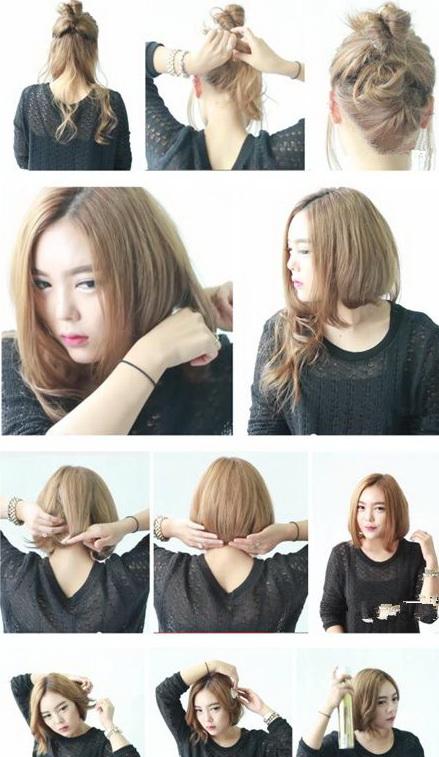 长发变短发的教程,最基本的就是这样,将长发扎一个松散的低马尾,然后图片